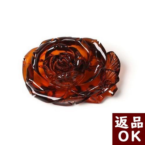 【お客様都合の返品送料も無料!】琥珀 ブローチ バルト産レッドアンバー 赤 お花 薔薇 【一点物】 ワインカラー