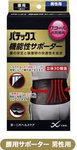 【送料無料】パテックス 機能性サポーター 腰用 男性用 L黒