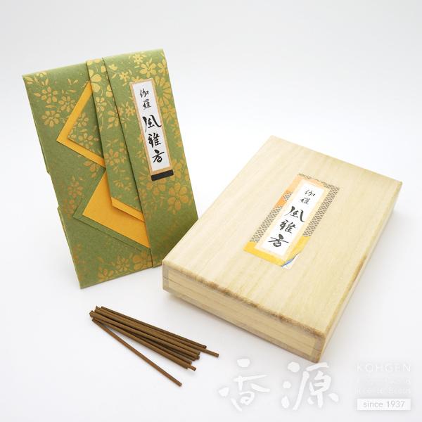 送料無料 香源オリジナル 伽羅風雅香 ミニ寸 桐箱入 お香 お線香