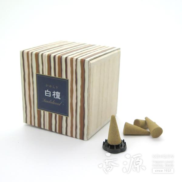 穏やかにひろがる素朴な香木白檀の香りのお香です 日本香堂 かゆらぎ 白檀 国内正規品 流行 コーン型