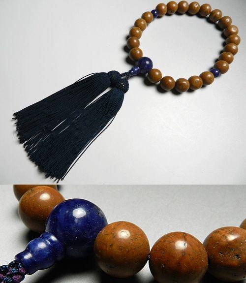 男性用のお数珠 鳳眼菩提樹 22玉 ソーダライト仕立て 鉄紺房