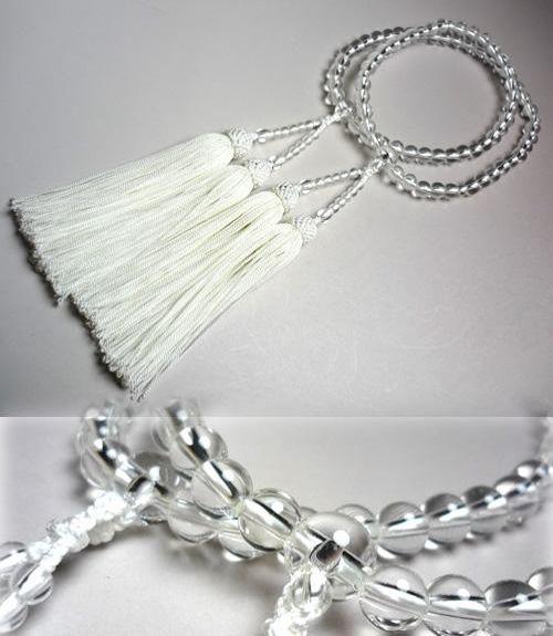 女性用のお数珠 水晶7ミリ玉 丸型二重