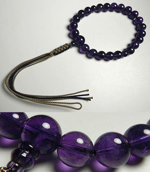 男性用のお数珠 紫水晶22玉 共仕立て