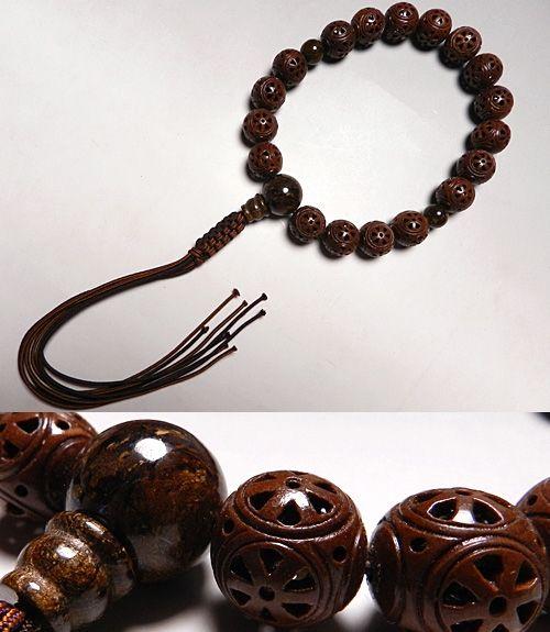 男性用のお数珠 摩耶菩提樹法輪彫り タイガージャズパー仕立て