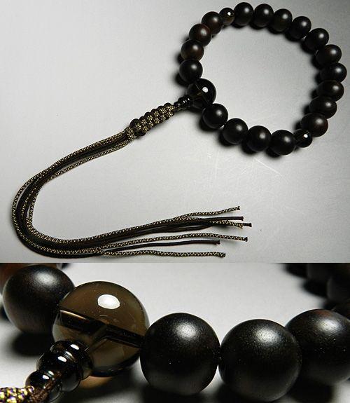 男性用のお数珠 縞黒檀 18玉 茶水晶 仕立て