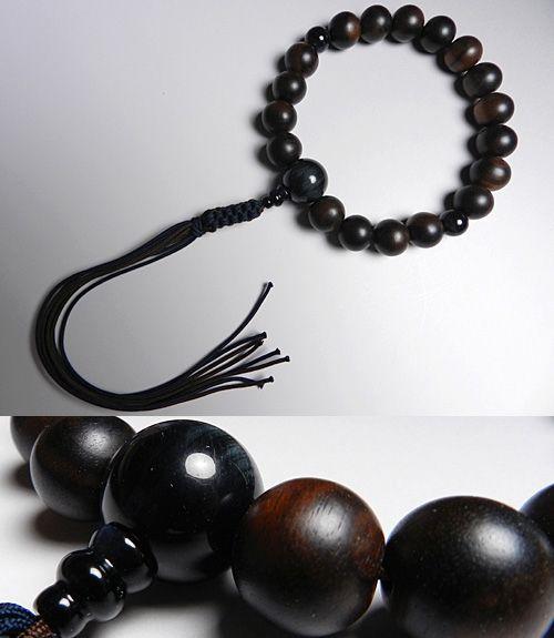 男性用のお数珠 縞黒檀 18玉 青虎目石 仕立て