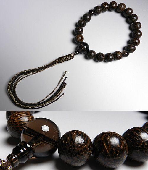 男性用のお数珠 ビンロウ 18玉 茶水晶仕立て