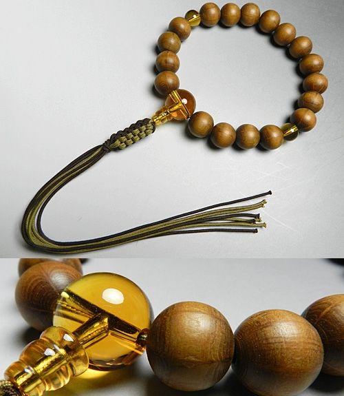 男性用のお数珠 六道木18玉 黄水晶仕立て