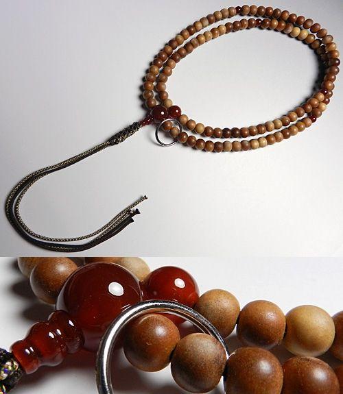 男性用のお数珠 インドネシア白檀 瑪瑙仕立て 曹洞宗 尺二