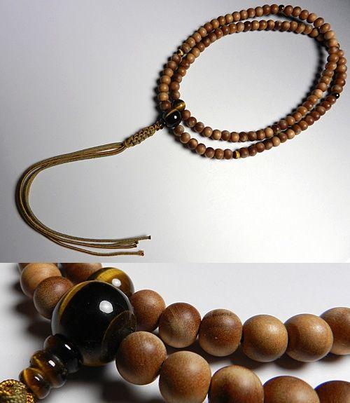 男性用のお数珠 インドネシア白檀 虎目石仕立て 臨済宗 尺二