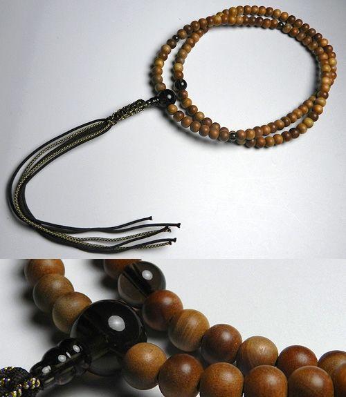 男性用のお数珠 インドネシア白檀 茶水晶仕立て 臨済宗 尺二