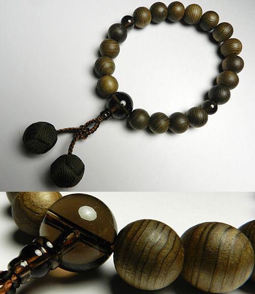 男性用のお数珠 神代杉 18玉 茶水晶仕立て 梵天房