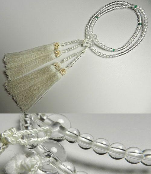 女性用のお数珠 水晶5mm玉 エメラルド仕立て 二重(八宗兼用) 白房