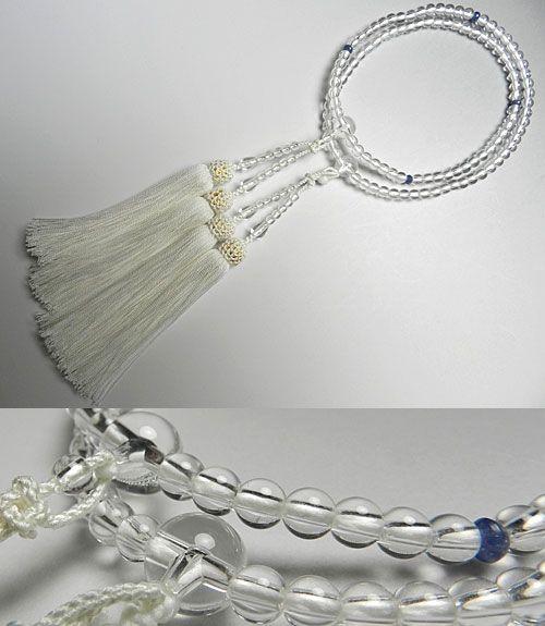 [10%OFFセール開催中] 女性用のお数珠 水晶5mm玉 サファイヤ仕立て 二重(八宗兼用) 白房