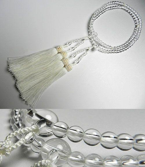 女性用のお数珠 水晶5mm玉 真珠仕立て 二重(八宗兼用) 白房