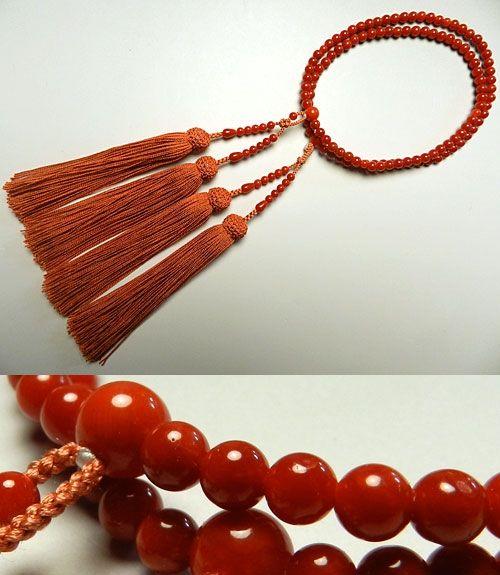 女性用のお数珠 古(胡)渡珊瑚 4.5mm玉 共仕立て 二重(八宗兼用)