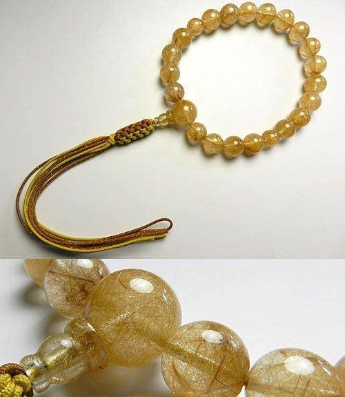 【ポイント10倍&お香プレゼント中】 男性用のお数珠 最上級ルチル(金線入り水晶) 18玉 共仕立て