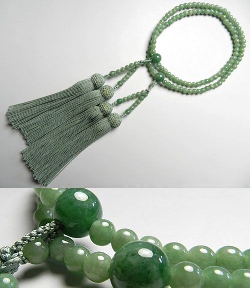 女性用のお数珠 上質ビルマ翡翠 二重(八宗兼用) 共仕立て