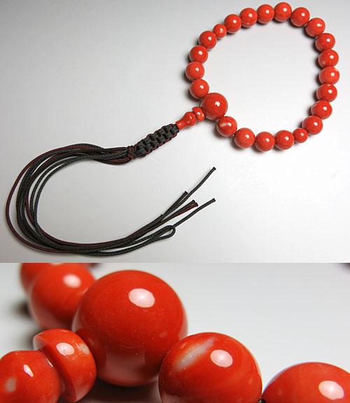 男性用のお数珠 桃珊瑚 18玉(13ミリ) 共仕立て 紐房【数珠】【念珠】【珊瑚】