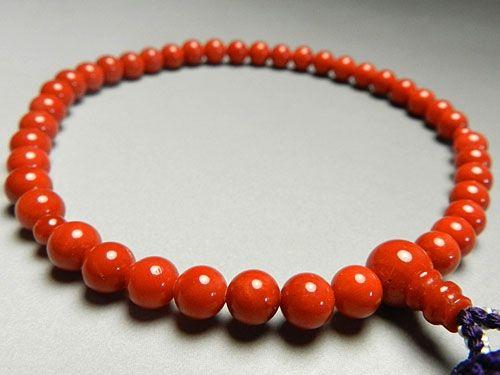 女性用のお数珠 最上級胡渡珊瑚6.3mm玉 共仕立て