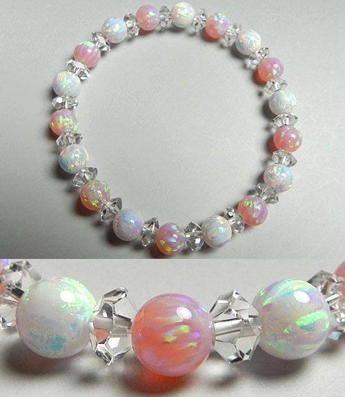 京都オパール(ピンク) 7mm玉ブレスレット 水晶切子コンビ仕立て デザインブレス