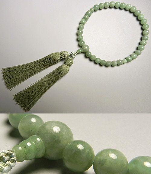 女性用のお数珠 ビルマ翡翠 8mm玉 共仕立て 抹茶房