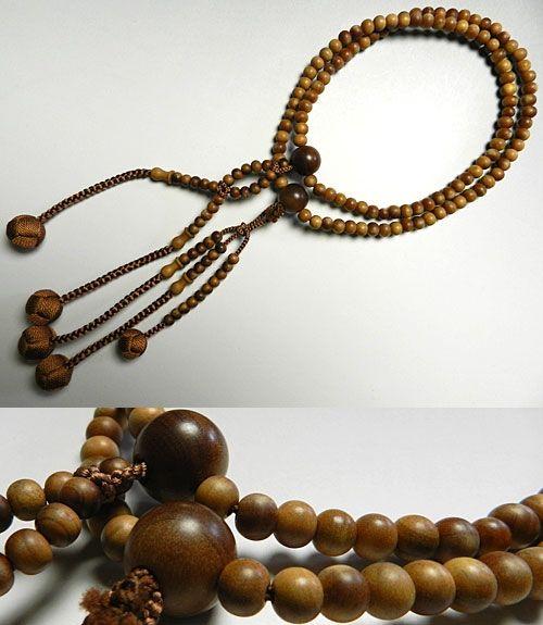 男性用のお数珠 インド白檀 二双半法華 共仕立て日蓮宗