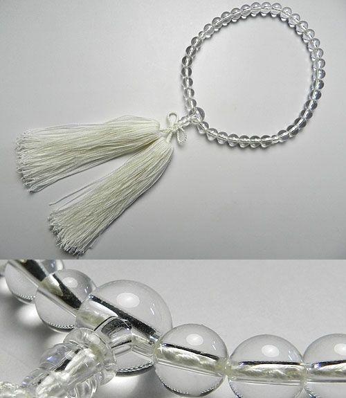 女性用のお数珠 水晶 7mm玉 共仕立て 浄土真宗向け 白房