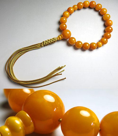 男性用のお数珠 最高級老琥珀 蝋琥珀 18玉 共仕立て 紐房
