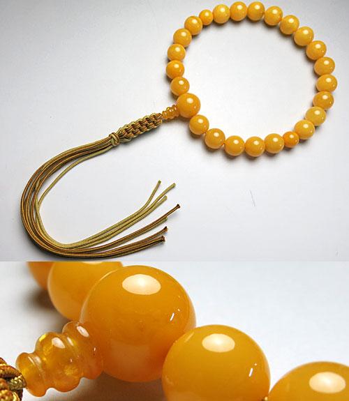 男性用のお数珠 最高級老琥珀 蝋琥珀 22玉 共仕立て紐房