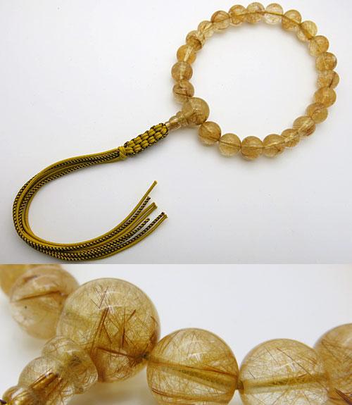 男性用のお数珠 最上級ルチル(金線入り水晶) 20玉 共仕立て 紐房【数珠】【念珠】【ルチル】