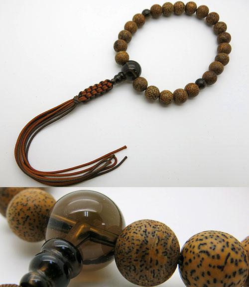 男性用のお数珠 星月菩提樹(黒芯) 茶水晶仕立て 紐房【送料無料】【数珠】【念珠】【星月菩提樹】