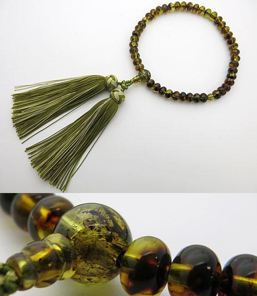 【B級品】女性用のお数珠 グリーン琥珀 みかん玉 共仕立て 花かがり房【数珠】【念珠】【琥珀】