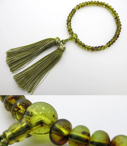 女性用のお数珠 グリーン琥珀 みかん玉 共仕立て 花かがり房【数珠】【念珠】【琥珀】