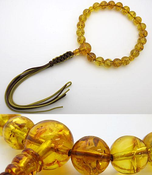 男性用のお数珠 グリッター入り 天然琥珀 22玉 共仕立て 紐房 金茶・焦茶房【送料無料】【数珠】【念珠】【琥珀】