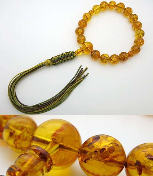男性用のお数珠 グリッター入り 天然琥珀 18玉 共仕立て 紐房【送料無料】【数珠】【念珠】【琥珀】