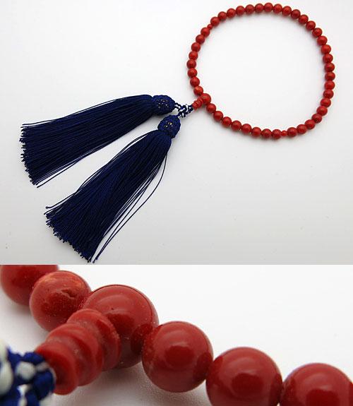女性用のお数珠 胡渡珊瑚6mm玉 共仕立て【送料無料】【数珠】【念珠】【珊瑚】