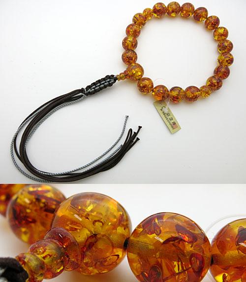 男性用のお数珠 グリッター入り 天然琥珀(オレンジ色) 18玉 共仕立て 紐房 【強力特価】【限定20品】【数珠】【念珠】【琥珀】