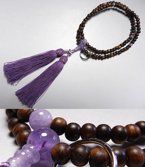 女性用のお数珠 栴檀 日蓮宗 紫瑪瑙仕立て 二双法華【送料無料】【数珠】【念珠】【日蓮宗】6