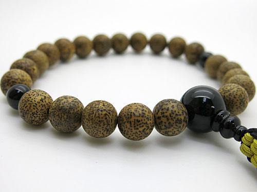 男性用のお数珠 星月菩提樹(黒芯) ブラックオニキス仕立て 紐房【送料無料】【数珠】【念珠】【星月菩提樹】