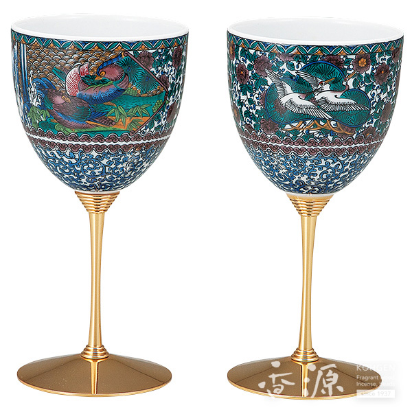 九谷焼 ペアワインカップ 間取花鳥