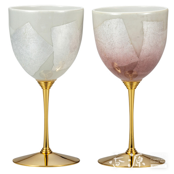九谷焼 ペアワインカップ 銀彩白ピンク
