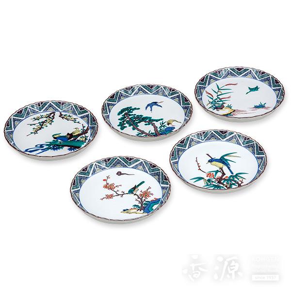 九谷焼 5.5号 皿揃 古九谷花鳥の図