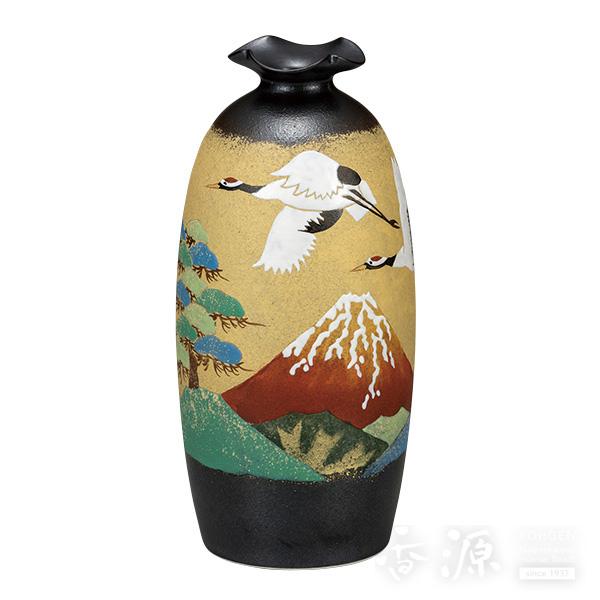 九谷焼 8号 花瓶 赤富士に鶴  [古田弘毅]