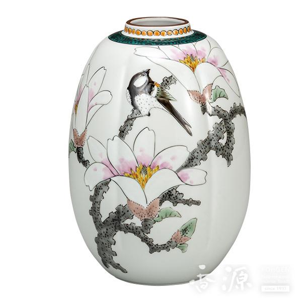 九谷焼 7.5号 夏目花瓶 こぶしと四十雀  [福田良則]