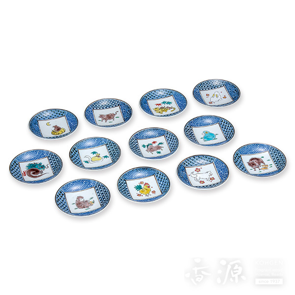 九谷焼 3.2号 皿揃 十二支