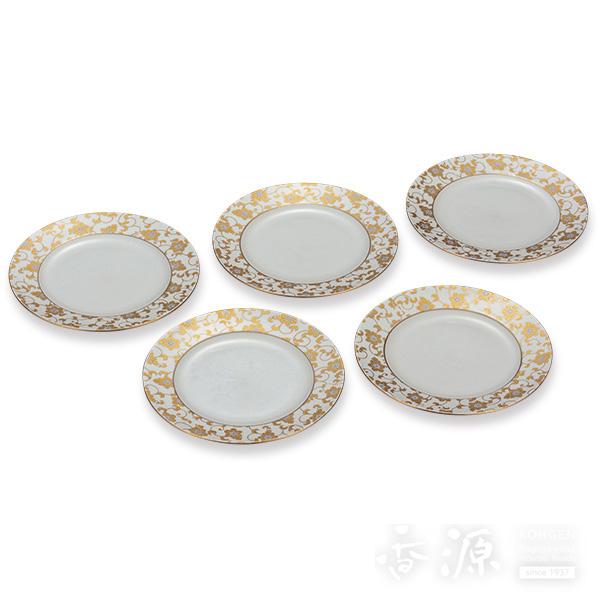 九谷焼 6.5号 皿揃 白粒鉄仙