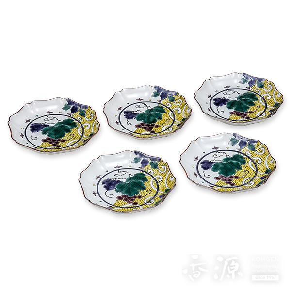 【海外限定】 九谷焼 5号 皿揃 色絵ぶどう文  [銀泉窯], 青葉区 0a52625e