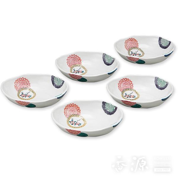 九谷焼 5.5号 小鉢揃 色絵丸紋