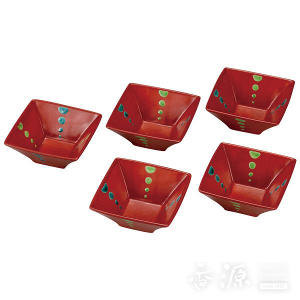 九谷焼 3.5号 小鉢揃 朱巻  [和陶房窯]